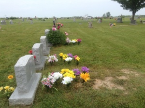 A view of Mom's, Jennifer's and Jeff's graves, May 2013